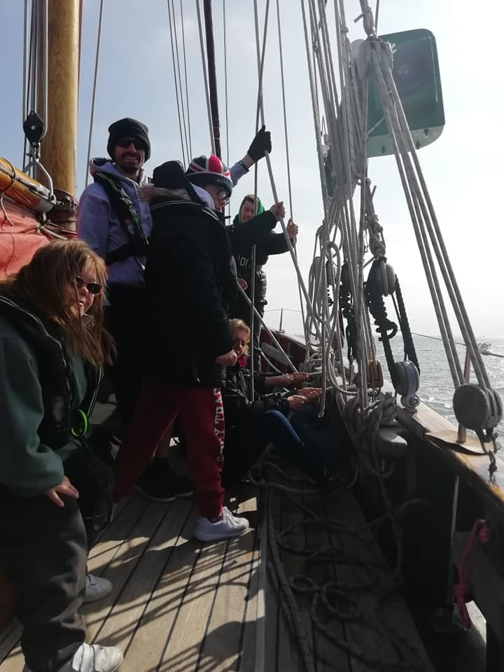 adults with learning disabilities on board sailing ship