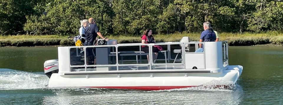 Peter Gardiner, a wheelchair accessible motor boat designed to take people with disabilities on the Hamble River